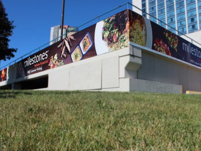 Banners mounted outside of Marriott Parking garage in Niagara Falls |Niagara Banner Print & Installation